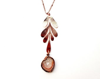 Rose Gold Plated Leaf with Pink Agate Geode Drop Necklace // Electroformed, Soldered Copper Chain // Crystals