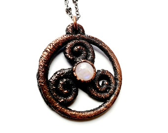 Gunmetal Copper Celtic Triple Spiral Necklace // Rainbow Moonstone // Electroformed, Boho Chic // Soldered Gunmetal Chain
