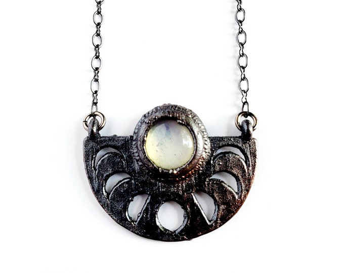 Quartz Crystal Moon Phase Necklace // Electroformed Jewelry // Soldered Gunmetal Chain