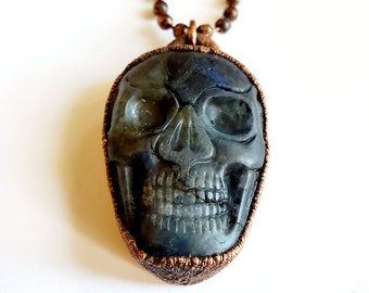 Electroformed Carved Labradorite Skull Necklace // Faceted Copper Ball Chain // Gemstones, Cabochon, Energy