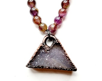 Copper Amethyst Druzy Mountain Range Necklace // Electroformed, Amethyst Beaded Necklace