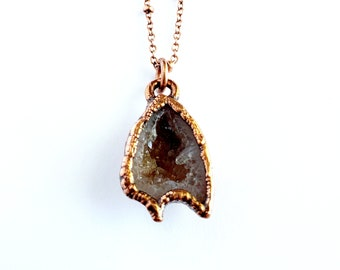 Electroformed Tabasco Geode and Copper Necklace // Soldered Copper Chain // Rocks and Minerals, Worlds Smallest Geode