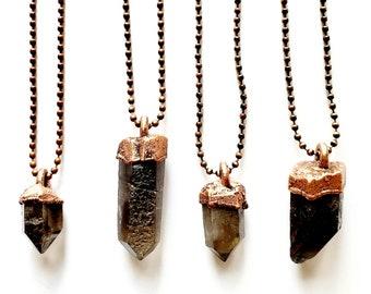 Smoky Quartz and Copper Necklace // Electroformed, Antique Copper Ball Chain // Natural Stone