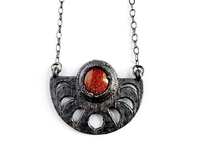 Goldstone Moon Phase Necklace // Electroformed Jewelry // Soldered Gunmetal Chain
