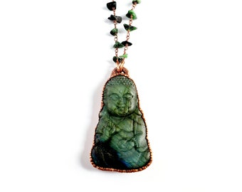 Carved Labradorite Buddha Necklace // Electroformed Jewelry // Ruby Zoisite Beaded Chain // Gemstones, Cabochon, Energy