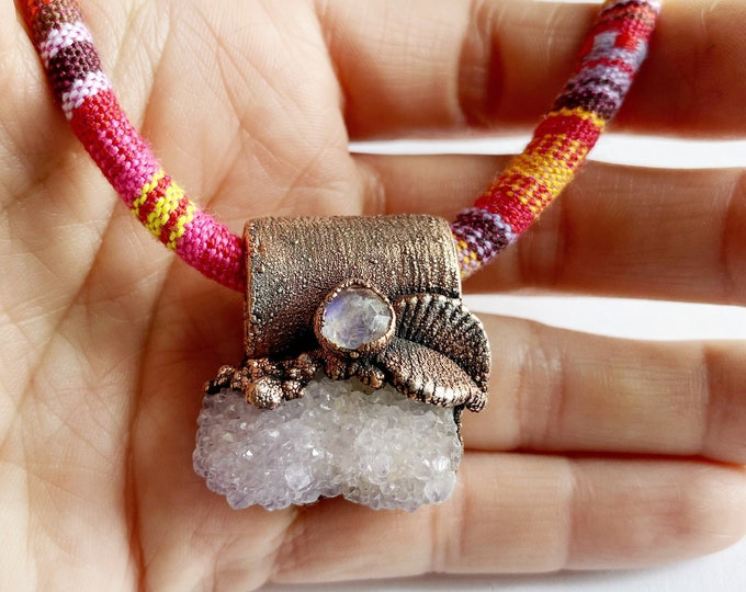 Amethyst Cactus Spirit Quartz and Rainbow Moonstone Necklace // Electroformed Jewelry // Multi Color Tribal Print Rope // Off the Chain