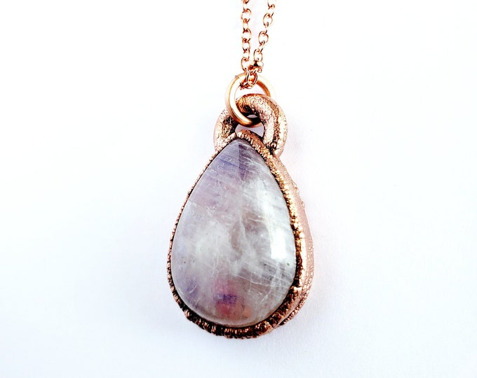 Rainbow Moonstone  Necklace // Electroformed Copper // Soldered Copper Chain