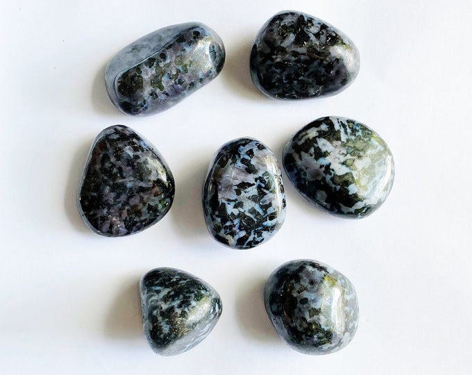 Mystic Merlinite Pebble (1) // Natural Stone, Palm Stone, Rocks and Minerals, Indigo Gabbro