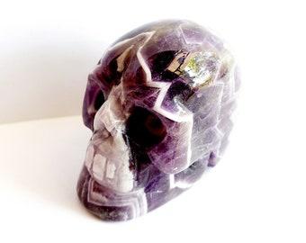 Carved Chevron Amethyst Skull // February Birthstone, Gemstone // Healing Stone // Metaphysical