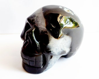 Carved Black Onyx Agate Skull // Lucky Gemstone // Healing Stone // Metaphysical, Crystal