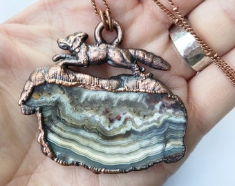 Run Wild Collection // Copper Fox and Crazy Lace Agate Necklace // Electroformed Copper, Soldered Copper Chain // Woodland Animal