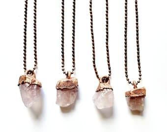 Raw Rose Quartz Necklace // Electroformed Copper // Antique Copper Ball Chain // Natural Stone