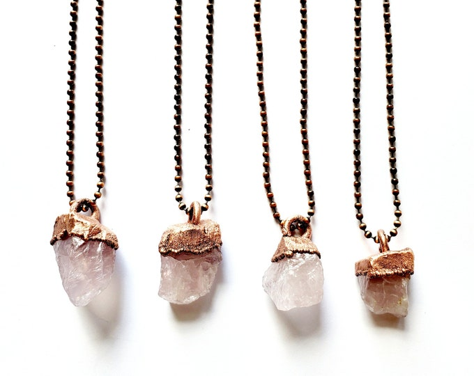 Raw Rose Quartz Necklace // Electroformed Jewelry // Antique Copper Ball Chain // Natural Stone Jewelry