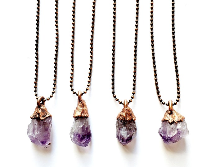 Raw Amethyst Point Necklace // Electroformed Jewelry // Copper Ball Chain // Natural Stone Jewelry