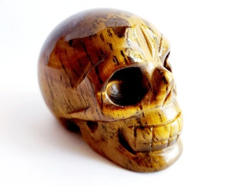 Carved Tiger Eye Skull // November Birthstone, Gemstone // Healing Stone // Metaphysical, Crystal