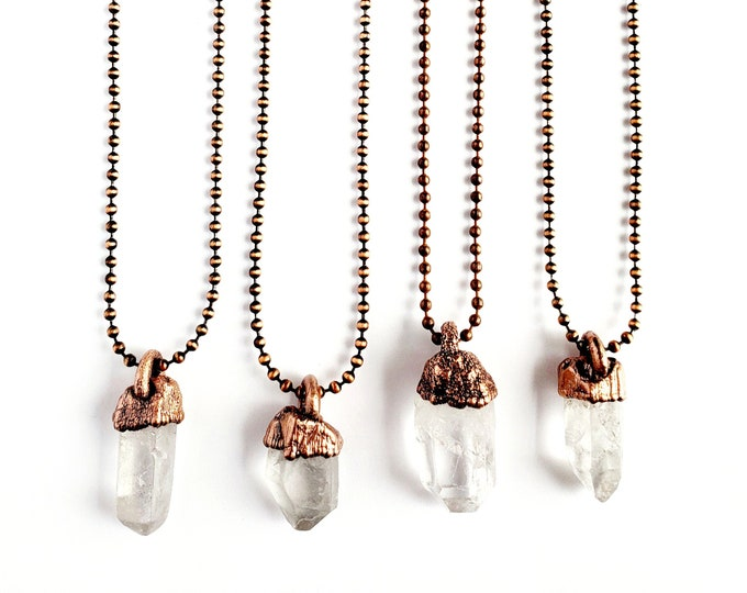 Clear Quartz Point Necklace // Electroformed Jewelry // Antique Copper Ball Chain // Natural Stone Jewelry