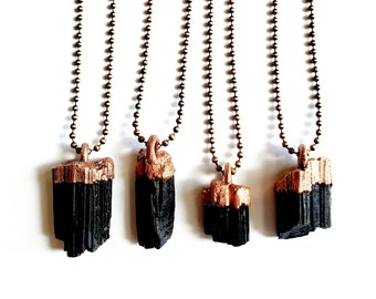 Black Tourmaline and Copper Necklace // Electroformed, Antique Copper Ball Chain // Natural Stone