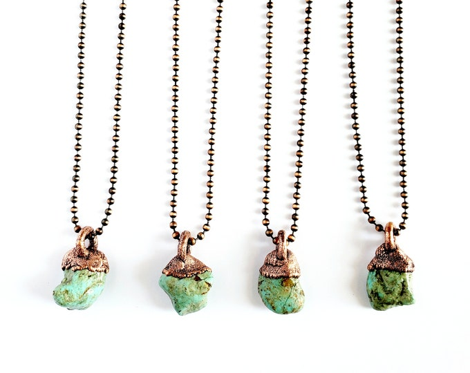 Arizona Turquoise Nugget Necklace // Electroformed Jewelry // Antique Copper Ball Chain // Natural Stone Jewelry