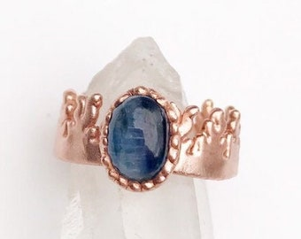 Polished Blue Kyanite and Copper Ring, Size 7.5 // Electroformed, Flame Design Copper Band