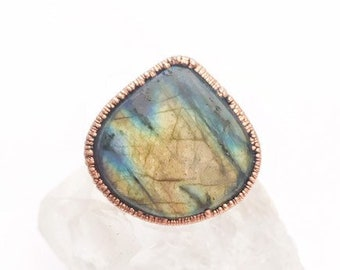 Teardrop Labradorite and Copper Statement Ring, Size 8 // Electroformed, Pure Copper // Mountain Range and Tree Design Band