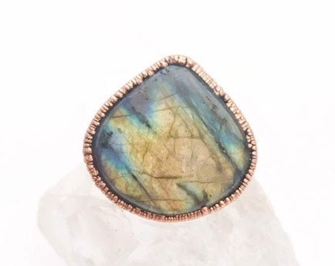Featured listing image: Teardrop Labradorite and Copper Statement Ring, Size 8 // Electroformed, Pure Copper // Mountain Range and Tree Design Band