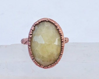 Creamy Faceted Sapphire and Copper Ring, Size 5.0 // Electroformed, Pure Copper // Birthstone, Rose Cut