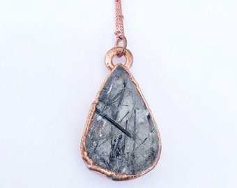 Rutilated Quartz with Black Tourmaline Needles Necklace // Electroformed, Copper // Crystals, Open Back