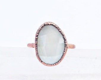 Pearly White Faceted Moonstone and Copper Ring, Size 7.5 // Electroformed, Pure Copper // Rose Cut, Magic