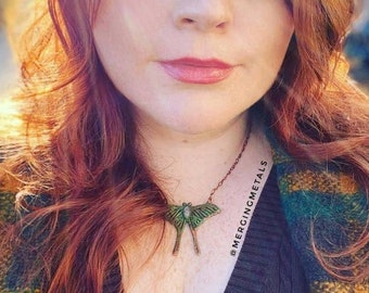 Rainbow Moonstone Luna Moth Necklace // Electroformed Jewelry // Soldered Copper Chain