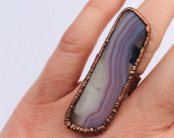 Electroformed Copper Lilac Banded Agate Wide Band Ring, Size 6 // Statement Ring