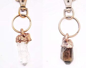 Copper and Crystal Keychains // Clear Quartz Crystal & Smoky Quartz Crystal // Electroformed, Genuine Crystal