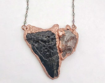 Megalodon Fossilized Tooth with Large Quartz Cluster, Fluorite Beaded Chain // Electroformed, Pure Copper // Sharks Tooth