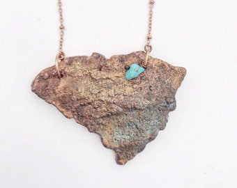 Tree Bark Carved South Carolina Copper Necklace // Electroformed Copper, Teal Patina, Turquoise Accent Stone