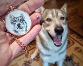 Custom Pet Portrait Pendant // Hand Painted // Copper Electroformed Pendant, Matching Copper Chain