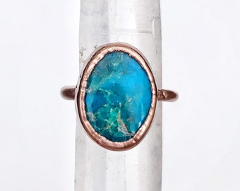 Brilliant Turquoise and Copper Ring, Size 8 // Electroformed, Pure Copper // Southwest