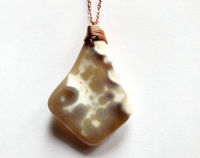 Snakeskin Agate Necklace // Hand Drilled, Copper Wire // Soldered Copper Chain