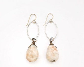 Norway Sunstone Drop Earrings // Bronze French Ear Wires, Hand Wrapped and Drilled