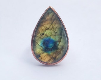Large Teardrop Labradorite and Copper Statement Ring, Size 11 // Electroformed, Pure Copper // FLASH