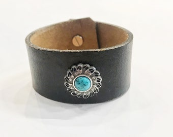 Handmade Black Recycled Leather Cuff // Antique Silver Feather and Howlite Concho // 8 Inch