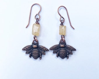 Copper Bee Earrings with Honey Citrine Stone Beads // Copper French Earwires //Honeybee, Beehive, Gemstones