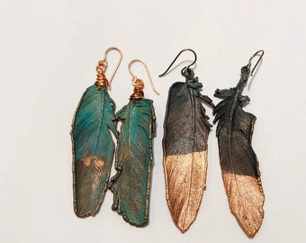 Real Feather Copper Electroformed Earrings // Naturally Shed, Patina