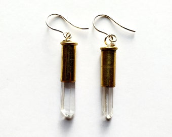 Antique Brass Bullet Casing and Clear Quartz Crystal Earrings // Sterling Silver French Ear Wires