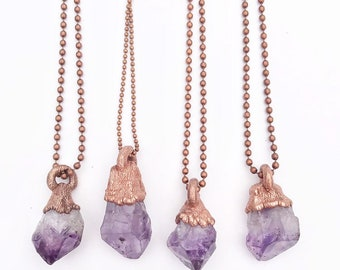 Raw Amethyst Point and Copper Necklace // Electroformed, Copper Ball Chain // February Birthstone, Gemstone