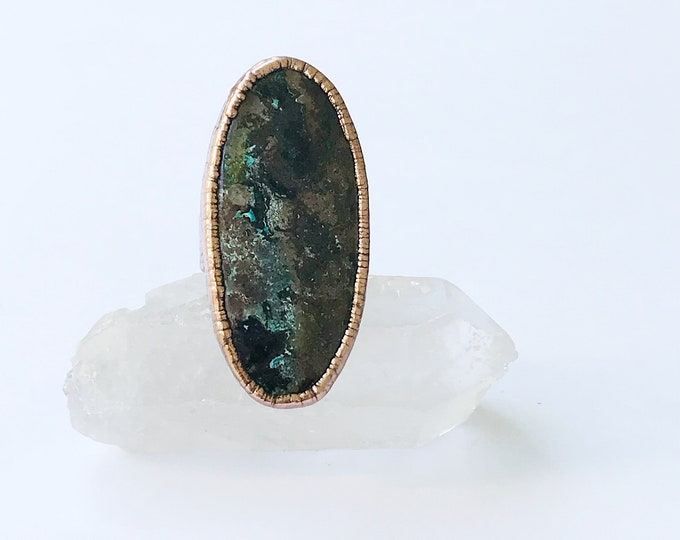 Spectacular Chrysocolla Statement Ring, Size 8 // Electroformed Copper // Snake Scale Wide Band Design, Natural Stone