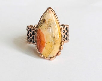 Polychrome Jasper and Copper Ring, Size 9.5 // Electroformed, Pure Copper // Honeycomb Ring Band Design