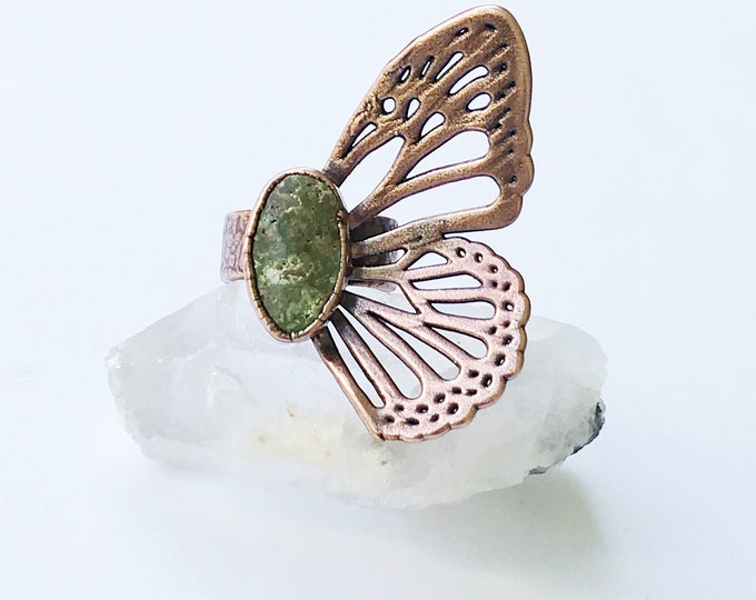 King's Manassa Turquoise Butterfly Wing Ring, Size 7 // Electroformed Copper // Natural Stone, Statement Ring