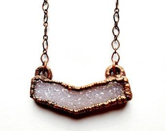 Amethyst Druzy Chevron Necklace // Electroformed, Copper Chain