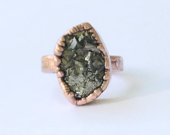 Electroformed Pyrite Ring, Size 8 // Pure Copper // Fools Gold, Natural Stone