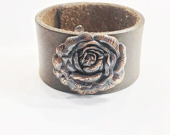 Handmade Chocolate Recycled Leather Cuff // Antique Copper Rose/Peony Concho // 8 Inch