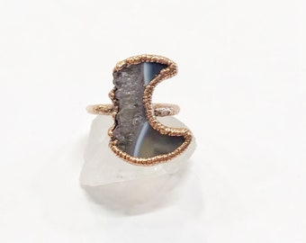 Antique Copper Amethyst Crescent Moon Ring, Size 5.5 // Electroformed, Pure Copper // Goddess, Moonchild